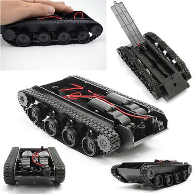 Black Smart Robot Tank 3v-7v Chassis Kit Car Rubber Track Crawler For Arduino