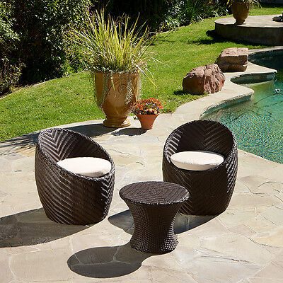 Outdoor Patio Furniture 3pc Brown Wicker Seating ...