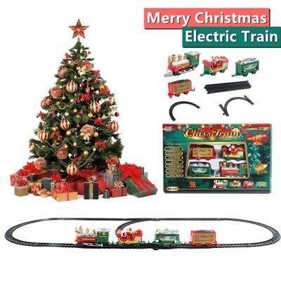 Christmas Electric Train Toy Set With Santa Children Small Track Light Music
