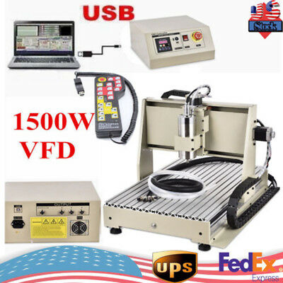 Usb 3axis 6040 Cnc Router Engraver 1.5kw Spindle Mill Cutting Carving Machinerc