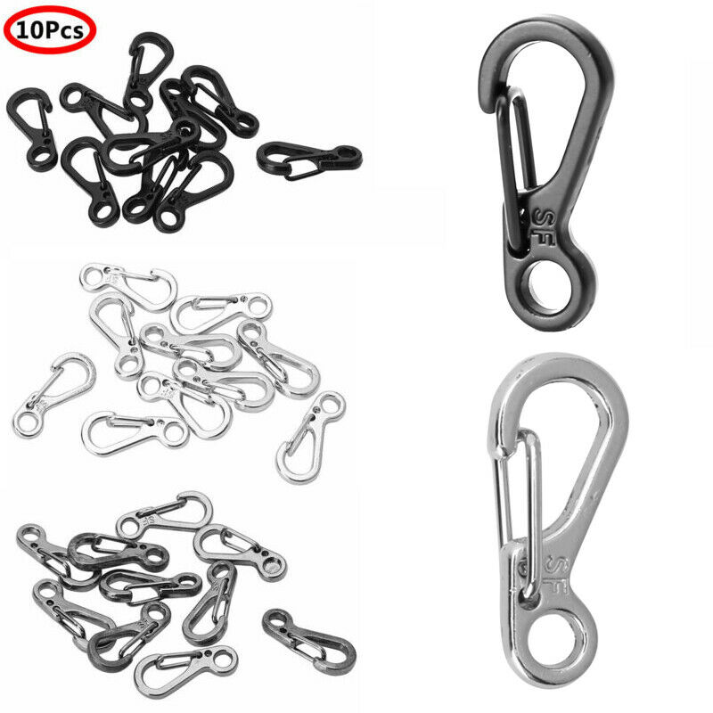 10 Mini SF Metal Carabiner Clips Tiny Snap Hooks Spring Clas