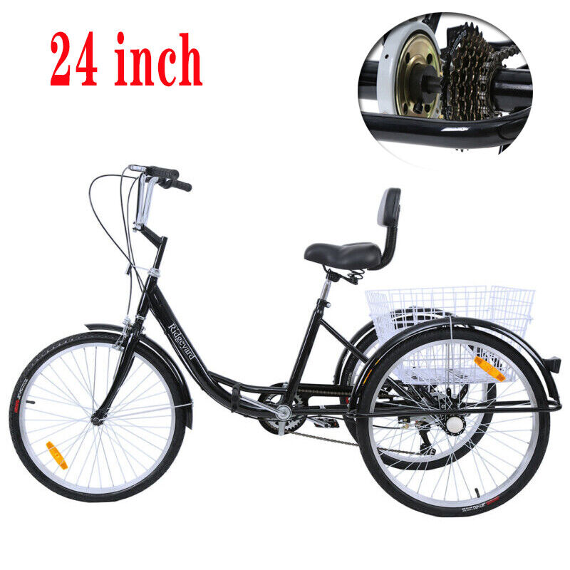 24'' 3 Wheel Shimano 7 Speed Adult Tricycle Basket Trike Cru