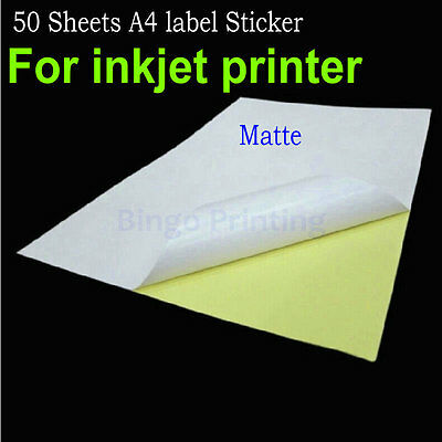 Matte Surface Inkjet Paper - 50 Sheets A4 Self-adhesive Label Sticker Matte Surface paper For Inkjet Printer