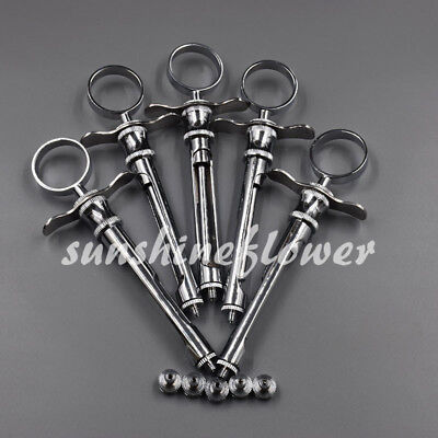 1.8ml Stainless Dental Aspirating Syringe Dentist Surgical Instruments 5 Pcs