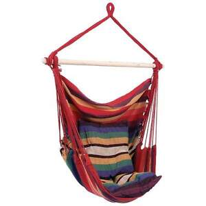 Red Hanging Rope Chair Outdoor Porch Swing Yard Tree Hammock Cotton Polyester