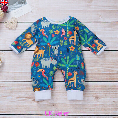 UK Newborn Baby Girl Boy Cartoon Animal Bodysuit Romper Jumpsuit Outfits Clothes