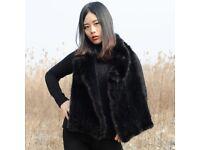 DAYMISFURRY --Knit Rabbit Fur Cape with Mink Fur Trim
