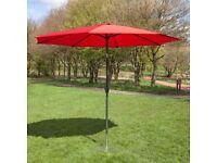 Brand New 2.7m Aluminium Wind Up Garden Parasol Burgandy