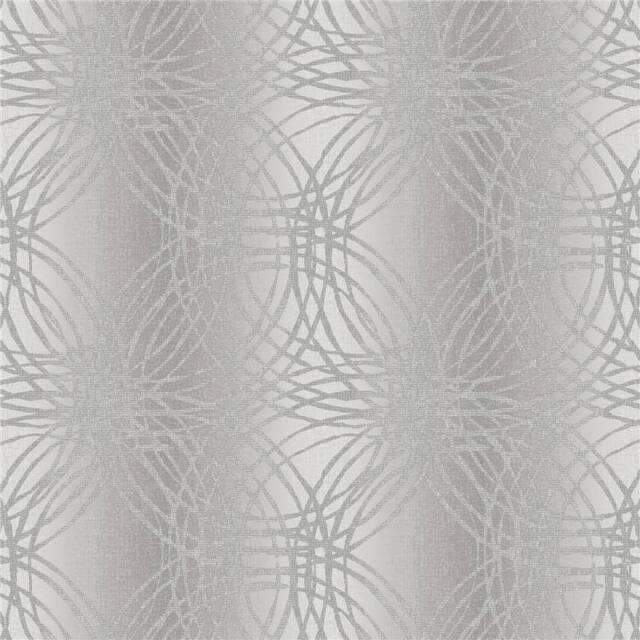 Silver Grey - BOA-015-03-4 - Leon - Glitter Stripe Circles - Ideco Wallpaper