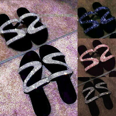 Womens Z-Shaped Open Toe Bling Rhinestone Flat Sandal Slides Slipper Shoes (Ladies Shapes)