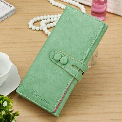 Lady Women Candy Soft Leather Clutch Wallet Cute Long Card Purse Blue US (Candy Wallet)