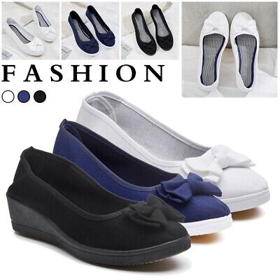 Women Slip On Flat Denim Canvas Loafers Pumps Casual Trainers Sneakers Shoe Size Flats Loafers Slip
