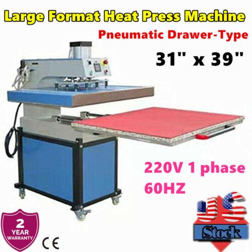 """QOMOLANGMA 31"""" x 39"""" Pneumatic Large Format Heat Press Machine Drawer-Type"""