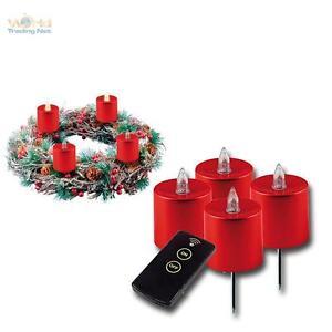 LED-avvento-candele-Set-per-corona-dell-039-Avvento-con-telecomando-e