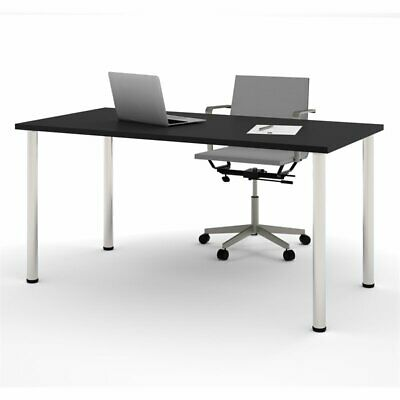 Bestar 30 X 60 Work Table With Round Legs In Black And Silver