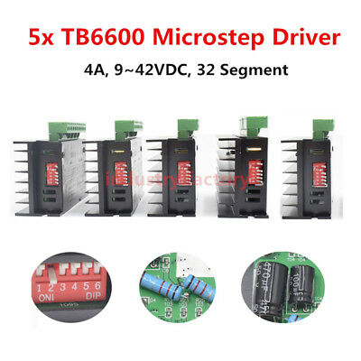 5x Tb6600 Driver Micro Step For Cnc 24 Phase Hybrid Stepper Motor Controller 4a