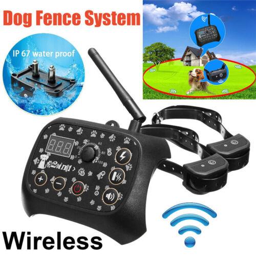 Dog Training Shock 2 Collar Fence Wireless Pet Electric Trai