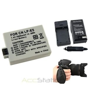 Charger+LP-E5 Battery+Hand Strap for Canon EOS 500D 1000D 450D Rebel Xs Xsi T1i