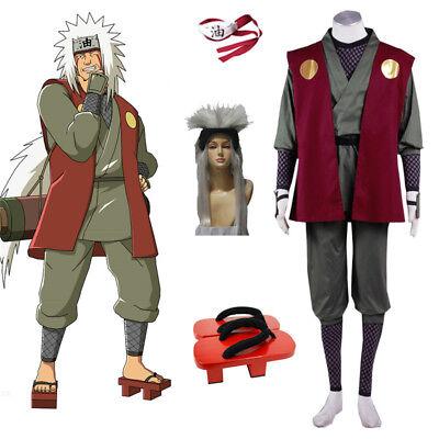 Naruto Outfits (Anime Naruto0 Jiraiya Cosplay Costume Wig Hibiscus Halloween Outfits Custom)