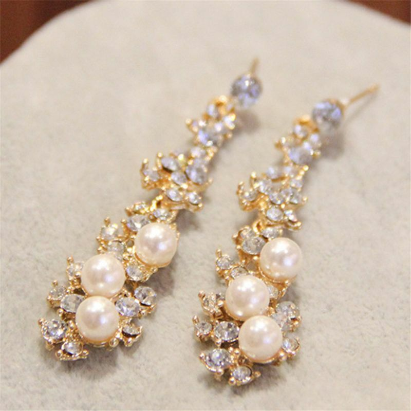 Amazing Womens 18K Gold Filled Three Beads Pearl Drop Dangle Earrings Climber