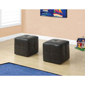 Monarch Ottoman - 2Pcs Set / Juvenile / Dark Brown Leather-Look