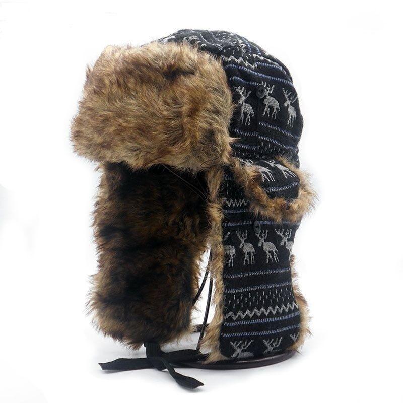 9aadc55827ee4 Men Ear Flaps Winter Bomber Hat Ushanka Russian Hat Warm Aviator ...