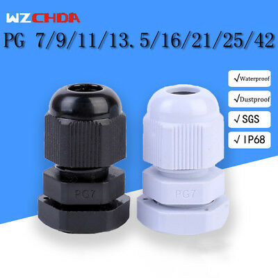 10pcs Pg 7 9 11 13.5 16 21 25 42 Waterproof Cable Gland Connectors Lw New