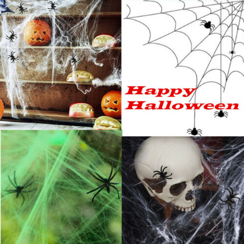 Spider Web With 2 Spiders Halloween Home Party Decor Ornaments Stretchy Cobweb