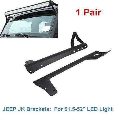 """2007-2018 Upper Windshield Lower Bracket For Jeep Wrangler JK 51.5-52"""" LED Light"""