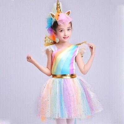 Kinder Mädchen Einhorn Kostüm Kostüm Regenbogen Halloween Cosplay Party - Mädchen Kostüm Kleid
