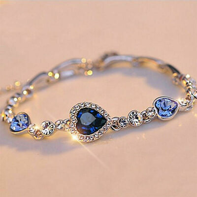 Women Blue Crystal Gift Bangle Bracelet Fashion Rhinestone Heart Ocean (Diamond Heart Fashion Bangle Bracelet)