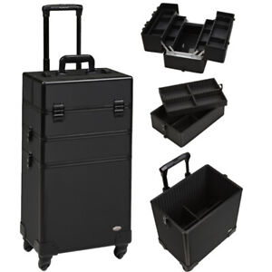 Professional 2-in-1 makeup rolling case / hair styling case