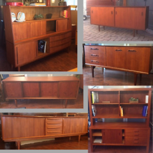 REFINISHED MCM Teak Walnut Sideboards Buffet TV Media from $500