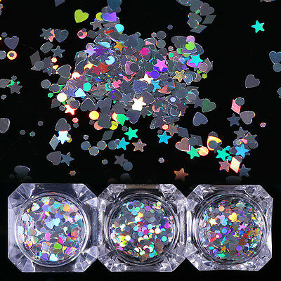 1.5g Holographic Nail Sequins Heart Star Round Holo Glitter Flakes BORN PRETTY - Heart Glitter