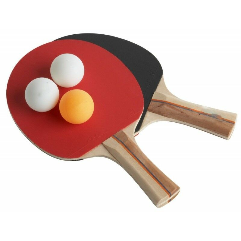 Set Kit 2 Racchette Da Ping Pong + 3 Palline Gioco Tennis Tavolo dfh