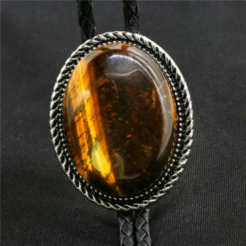 Tiger`s eye Stone Mens Bolo Tie Wedding Necklace PU Leather Rope Western Cowboy