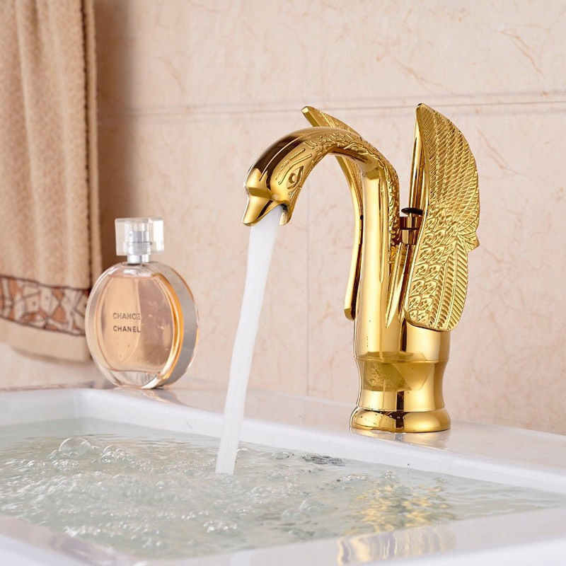Bathroom basin sink antique brass gold black chrome swan faucet duck mixers taps ebay for Gold and chrome bathroom faucets