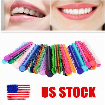 1040pcs Dental Orthodontic Elastic Ligature Ties Bands V Tie Rubber Us Colorful