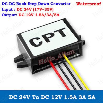 Waterproof Dc-dc Buck Step Down Volt Converter 24v To 12v 3a 5a Car Power Supply