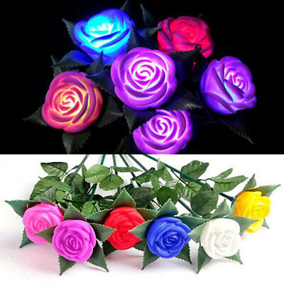 LED Lights Rose Outdoor Yard Garden Path Lawn Flower Lamp House Party Decor