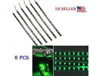 6pcs Green 1Ft//15 SMD LED Car Motors Truck Flexible Strip Light Waterproof 12V