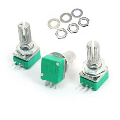3pcspack 6mm Knurled Shaft Single Linear B-10k Ohm Rotary Potentiometer B10k