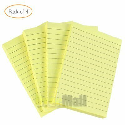 4packs Super Sticky Notes Lined Note Pads Memo 4 X 6 Notepads Total 200 Sheets