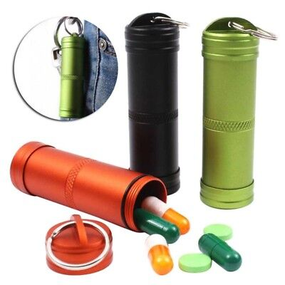 Pill Box Container Waterproof Case Holder Bottle Aluminum Keychain Medicine Kit Pill Box-container