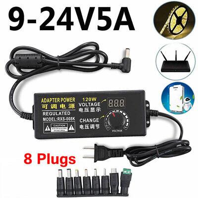 9v-24v 5a 120w Adjustable Voltage Power Supply Adapter Charger Transformer Sets