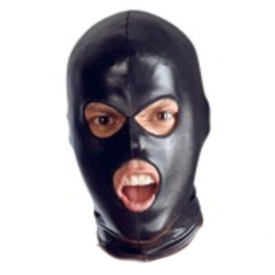 Faux Leather Full Head Hood Mask Open Mouth & Eyes 3 Holes Halloween Costumes](Eye Lip Halloween)