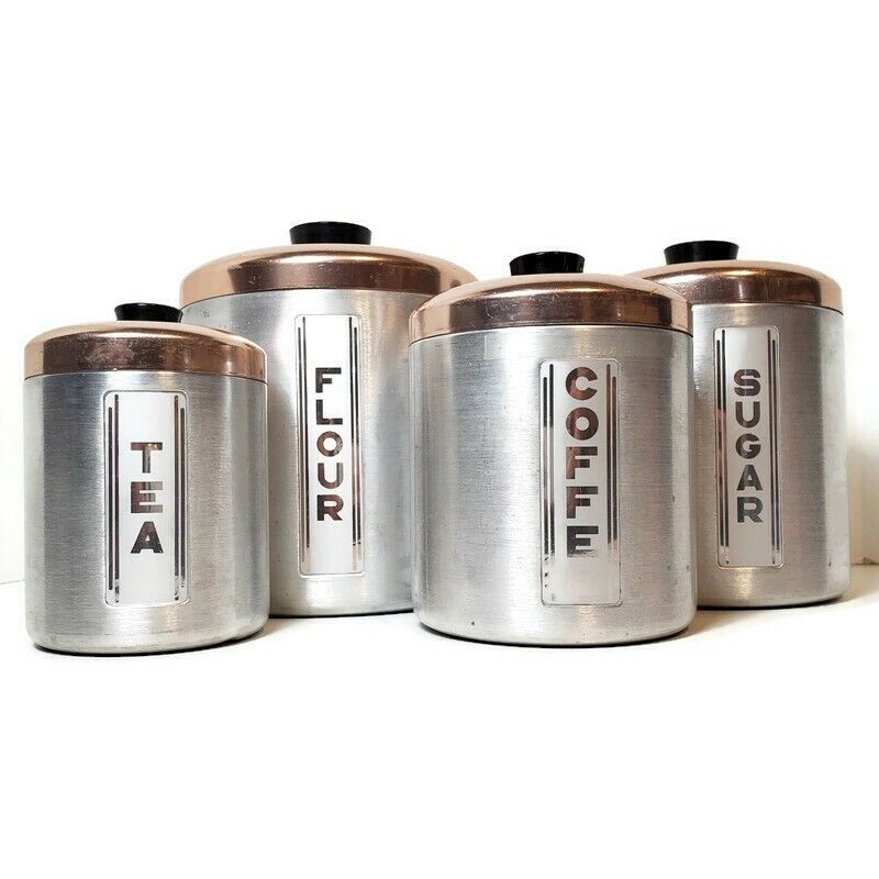 Vintage Maid of Honor 1950s Aluminum 4 Piece Canister Set with Copper Toned Lids