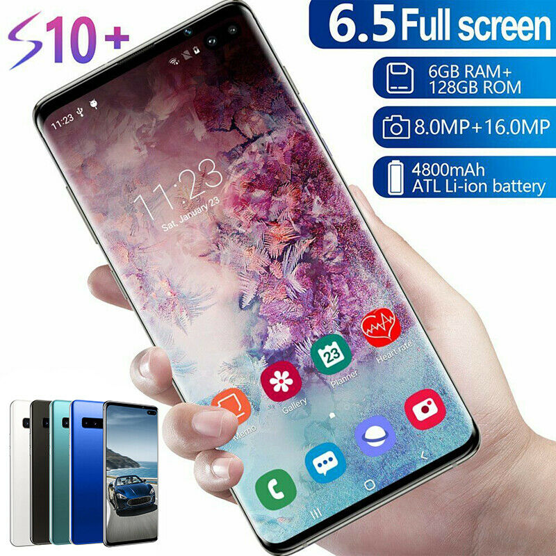 """Android Phone - 6.5"""" S10 Smart Mobile Phone Face ID/Fingerprint Dual Unlocked SIM Android 9.1 UK"""
