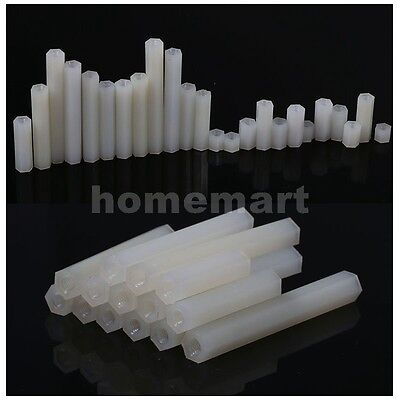 M2 M2.5 M3 M4 Nylon Hex Spacer Standoff Pillar Female-Female Screws White shore