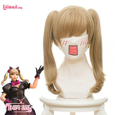 Overwatch DVA D.va Hana Song Hair Wig Black Cat Long Ponytails Brown Cosplay Wig
